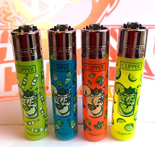 4 x Clipper Lighters Set, Assorted Designs, Gas Lighter Refillable You get...