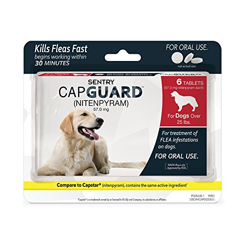 SENTRY Capguard (nitenpyram) Oral Flea Control Medication, 25 lbs and Over, 6 count