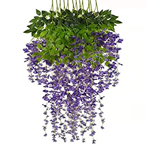 Silk Flower Arrangements NB 12 Artificial Wisteria Flowers, Artificial Wisteria Vines Hanging Flowers, 43 inches for Wedding Background-Birthday, Party-Baby Shower-Garden, Indoor and Outdoor Greenery, UV Protection (Purple)