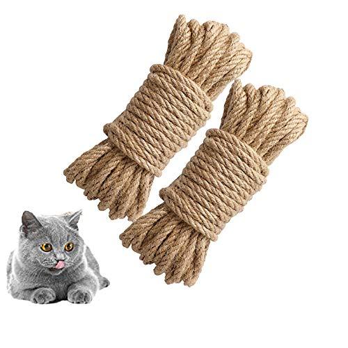 2 Piezas Cuerda de Sisal para Gatos 6MM, Cuerda de Sisal Natural para Gatos, Gato de Cuerda de Cáñamo Rascador de Bricolaje, Manualidades, Torre de Gato, árbol, Rascado, Decoración (6 mm, 20 m)