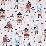 SCHÖNER LEBEN. Tela de popelina pirata, conejo pirata, oso y estrellas, color blanco, azul y rojo, 1,45 m de ancho