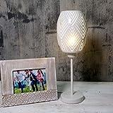 OYGROUP - Lámpara de mesa con pantalla de metal hueca blanca, luz de escritorio para dormitorios, oficina, estudio, decoración de la habitación, SIN BOMBILLA, E27