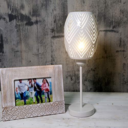 OYGROUP Nachttischlampe mit aushöhltem Lampenschirm aus weißem Metall Schreibtischlampe für das Büro Studio Wohnheim Esszimmer Wohnzimmer Dekoration, KEINE GLÜHBIRNE, E27