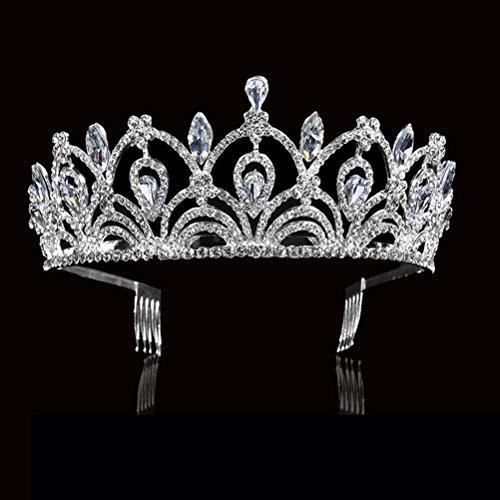 Lurrose - Diadema para novia, con peineta (cristal), diseño de diadema de...