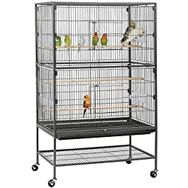 Yaheetech 132cm Large Parrot Bird Cage for Cockatiel Lovebird Birdcage Durable Frame With Perch Stand and Wheels Black