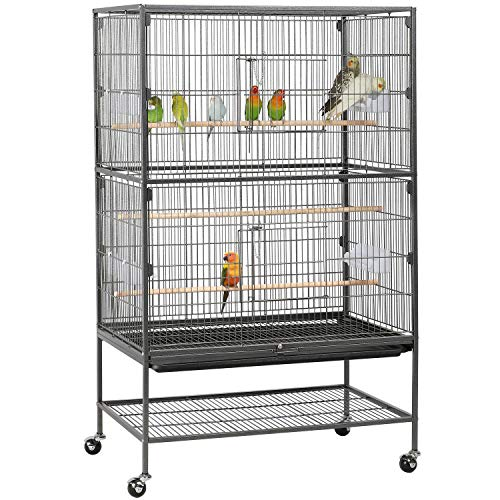 YAHEETECH 52-inch Wrought Iron Standing Large Flight King Bird Cage for Cockatiels African Grey Quaker Amazon Sun Parakeets Green Cheek Conures Pigeons Small Parrot Bird Cage Birdcage with Stand