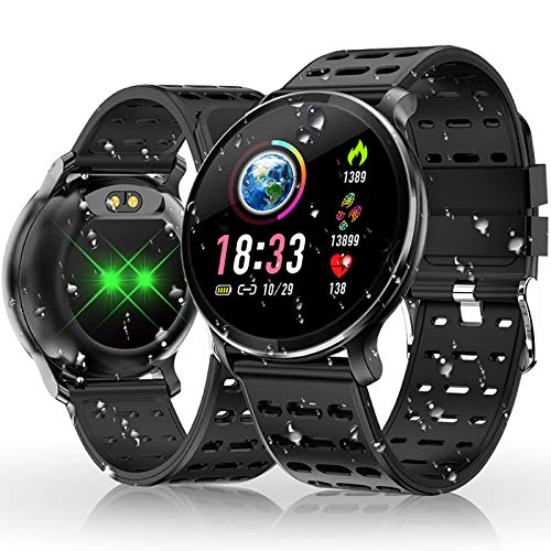 HOLALEI Smartwatch, Fitness Armband Wasserdicht Smart Watch IP68 Wasserdicht Fitness Tracker Aktivitäts Uhr Armbanduhr mit Pulsuhren Schrittzähler Schlafmonitor für Damen Herren (Schwarz)
