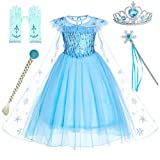 Party Chili Princess Dress Up for Little Girls Costumes with Gloves,Crown,Wand,Wig Accessories(2T 3T)