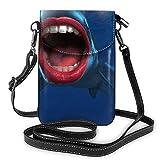 Divertido tiburón labios moda pequeño teléfono celular monedero multiusos bolsa de hombro cartera