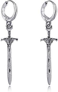 XCFS 3D Medieval Sword Hoops Earrings Silver Plated Renaissance Dagger Sword Charm Dangle Hoop Earring