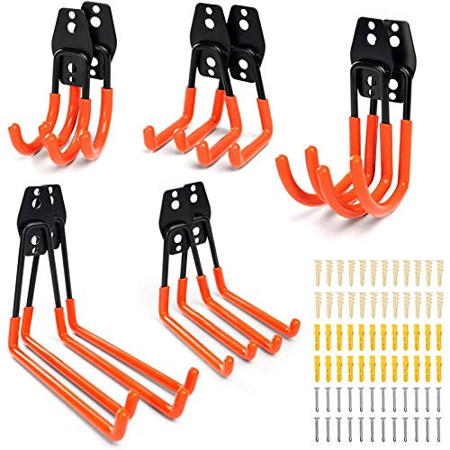 Garage Storage Wall Hook - MOSRACY 10 PCS Non-slip Utility Double Steel Hooks Maximum Load Capacity 30 kg for Organizing Power Tools Ladder Broom Shovel Bicycle Heavy Duty Storage