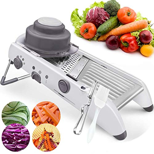 TOPLNER Stainless Steel Mandoline Slicer - 18 kinds Adjustable Vegetable Thickness Julienne Onion Potato Waffle French Fry Cutter Chopper Dicer and Grater for Kitchen