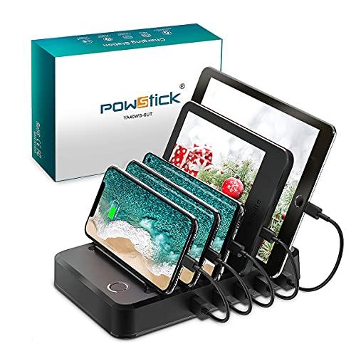 Estación de carga para múltiples dispositivos con 6 cables de carga mezclados Multi USB cargador estación organizador para teléfonos celulares Apple Samsung Tab Electronics Tech Gadget regalo
