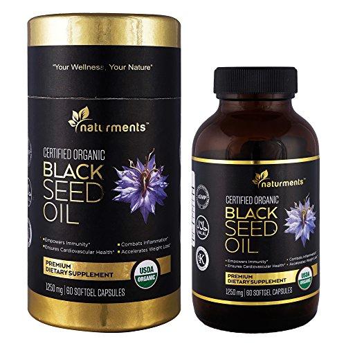Naturments Premium Black Seed Oil Capsules Softgels 100% Organic Unrefined Non GMO Cold Pressed Extra Virgin Nigella Sativa Pure Halal Kalonji Oil - 60 Softgels (1250 mg Each)