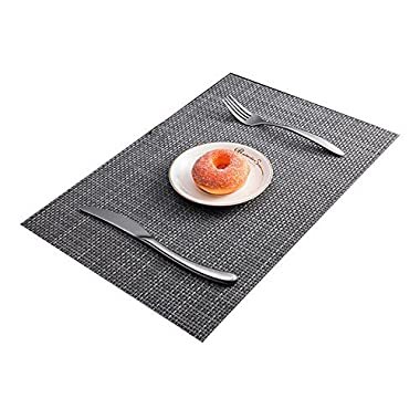 BeautiLife Placemat for Dining Table PVC Placemats Heat-resistant Place mats Washable Table Mats Set of 4 Placemats
