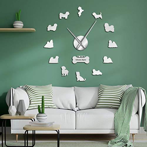 N/A PYIQPL Lhasa Apso 3D DIY Art Stickers Reloj de Pared silencioso Gigante Barbudo León Perro Decoración del hogar Sin Marco Reloj Grande Dueños de Perros Regalo de Amante (Plata) 47inch
