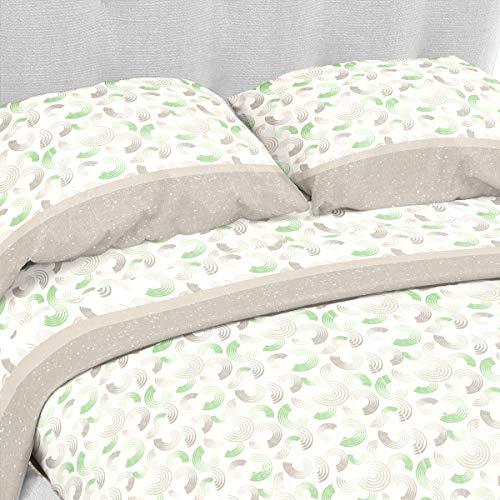LARA MORADA Set Completo Letto Lenzuola 100% Cotone Disegno Circle (Verde, Matrimoniale 2P)