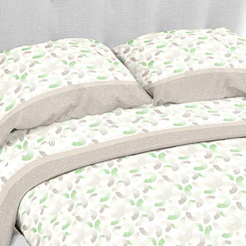 LARA MORADA Set Completo Letto Lenzuola 100% Cotone Dis Circle (Verde, Matrimoniale 2P)