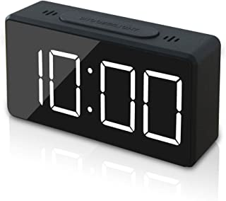 GLOUE Small Mini Digital Alarm Clock for Travel with LED Time or Temperature Display, Snooze, Adjustable Brightness Simple Operation 12/24Hr (Black)