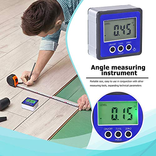 Digital Angle Meter, Horizontal Angle Meter Digital Protractor Inclinometer Electronic Level Box Magnetic Base Measuring Tools Blue