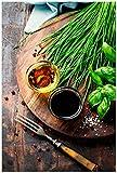 Wallario Poster - Kräuter, Öle und Gewürze auf einem