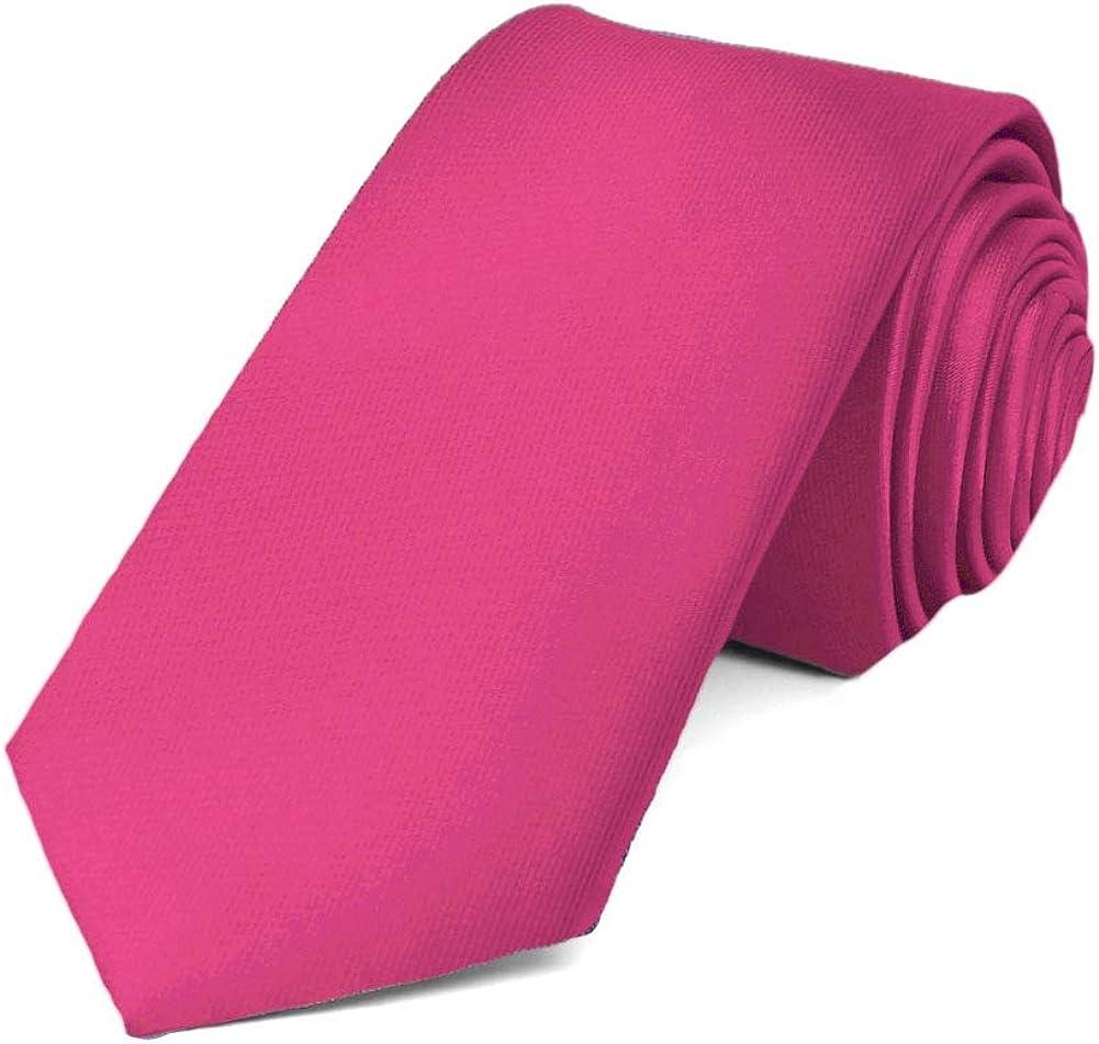 TieMart Fuchsia Slim Solid Color Necktie, 2.5