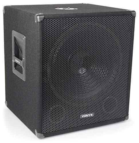"""Vonyx SWA15 aktiver PA-Subwoofer Lautsprecher PA-Lautsprecherbox (38cm (15\"""") Tieftöner, 300 Watt max, XLR, Stativ-Flansch) schwarz"""
