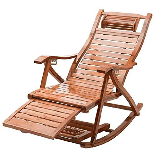 Silla Ergonómica de Oficina Mecedora de Madera de Acacia Vaporizador Relajante Dormitorio Tumbona de Ocio Almohada de Bambú Cómoda para Tomar el Sol Al Aire Libre Oficina, Peso: 14 KG