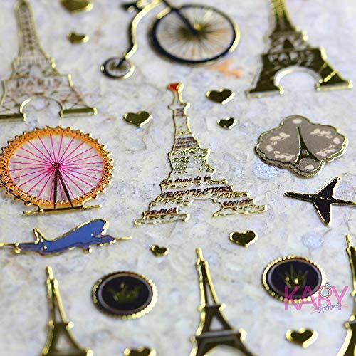 BLOUR Mini Travel Paris Tower Inn Riesenrad Retro Scrapbooking Belohnung Kinder Kinder Glänzende vergoldete Papierfolie Aufkleber Mode Handwerk