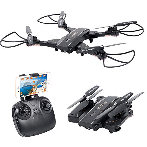HuiShuTek RC Quadcopter RTF Drone with Camera 720P HD Live Video WiFi 2.4GHz 6-Axis Gyro with Altitude Hold, One Key Return and Headless Mode, Optical Sight Function,for Kids & Beginners ,Foldable