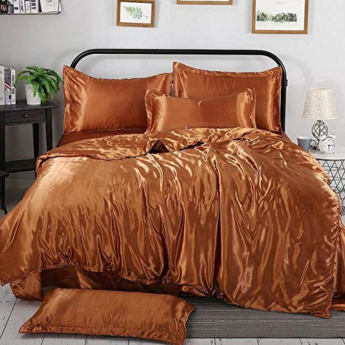 geek cook Homehold Sheets Set,Fashion New 100% Pure Satin Silk Bedding Set Home Textile King Size Bed Set Bed Clothes Duvet Cover Flat Sheet Pillowcases-KA FEI_Queen Size 4pcs