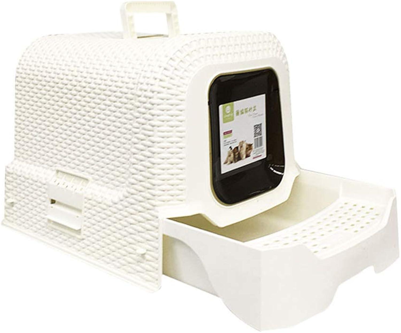 Fully Enclosed Cat Litter Box, Rattan Wind Splashproof Drawer Type Cat Toilet Deodorant and Splashproof Pet Cat Products,White