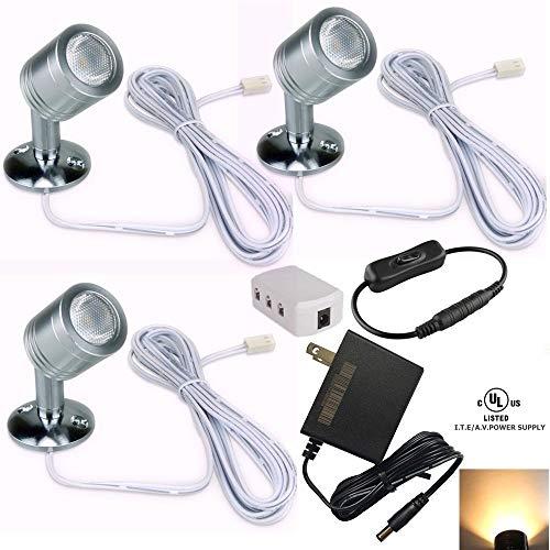 Xking 12V 1W LED Spotlight/Cabinet Light/Jewelry Lamp/Ceiling Light/Display Cabinet Light/Museum/Wall Light - Warm White 3000K (Set of 3)