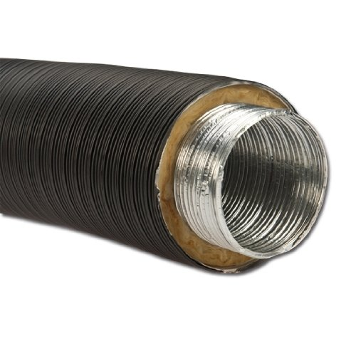Isoliertes Aluflexrohr Aluflexleitung 800 mm, DN 100 mm, Schwarz Aluflex