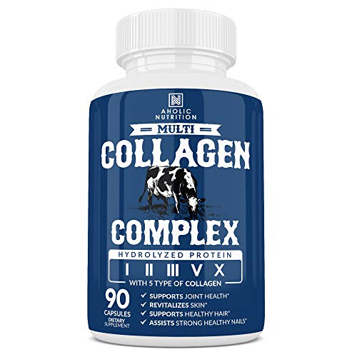 Multi Collagen Pills Type I, II, III, V, X Grass Fed Hydrolyzed Collagen Peptides, Collagen Powder for Healthy Skin, Hair, Nails, Joints & Digestive Gut, Collagen Supplements - 90 Collagen Capsules