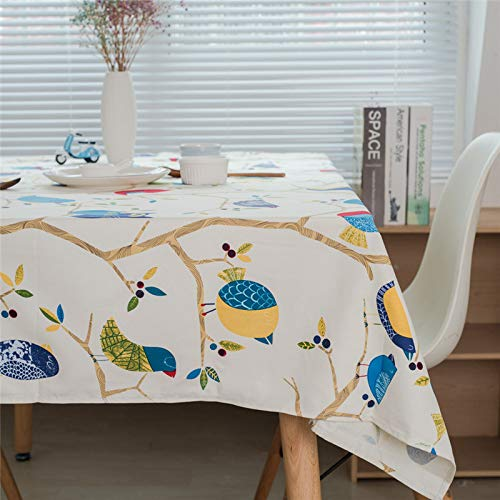 XQJDD Baumwolle Leinen Tischdecke Eule Couchtisch Tuch Cartoon Frische Tischdecke Weiß 140X160Cm