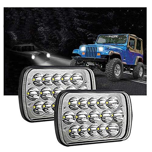7x6 Led Headlights Dot Approved, 2pcs 5  x 7  Led Headlights for Trucks H6054 Rectangle Hi Lo Headlights Chevy Sealed Beam H4 9003 Plug 6054 H5054 for Jeep Wrangler YJ XJ Cherokee Blazer Express Van