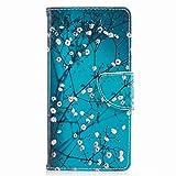 Yiizy Etui Coque Sony Xperia XA1 / G3121 / G3112 Etui, Fleur de Prunier Bleu Pochette Coque Housse...