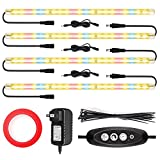 LED Grow Lights Strips for Indoor Plants with Auto ON & Off Timer, T5 Sunlike Full Spectrum Grow Lights Bar Growing Lamps for Greenhouse Shelves Hydroponics Succulent, 4 Dimmable Levels