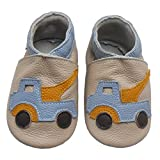 Bemesu Baby Krabbelschuhe Lauflernschuhe Lederpuschen Kinder Hausschuhe aus weichem Leder für Mädchen und Jungen Beige Auto (M, 6-12 M, EU 20-21)