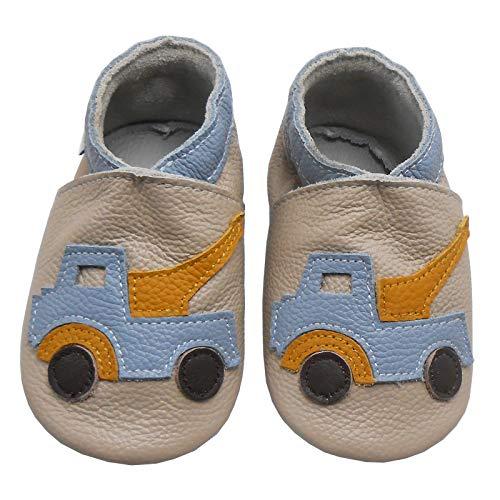 Bemesu Baby Krabbelschuhe Lauflernschuhe Lederpuschen Kinder Hausschuhe aus weichem Leder für Mädchen und Jungen Beige Auto (S, 0-6 M, EU 18-19)