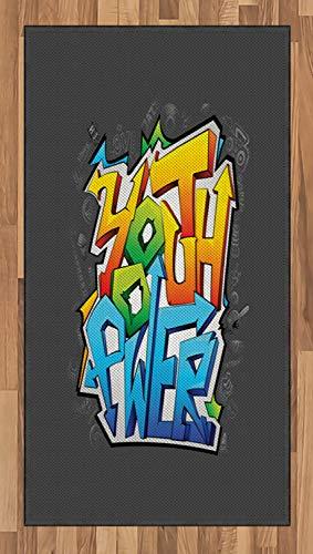 ABAKUHAUS Juventud Alfombra de Área, Arte De La Pintada Poder Juvenil, Ideal para Sala de Estar o Comedor Resistente a Manchas, 80 x 150 cm, Multicolor