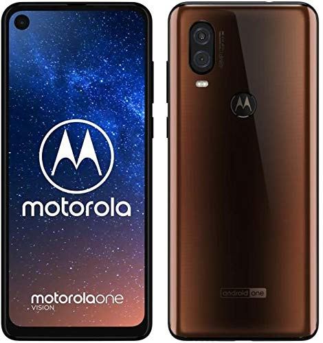 Motorola One Vision Dual-Sim Smartphone (6, 3 Zoll Bildschirm, 48-MP-Sensor, 12-MP- + 5-MP-Dual-Kamera, 128 GB/4 GB, Android 9.0) Bronze + Schutzcover