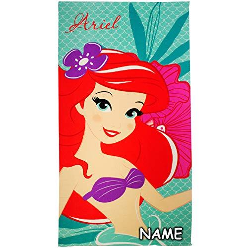 alles-meine.de GmbH Badetuch / Strandtuch - Disney Princess - Prinzessin Arielle - incl. Name - 70 cm * 140 cm - Frottee / Velours - Mikrofaser - Handtuch - Mädchen - 70x140 für ..