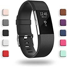 POY Replacement Bands Compatible for Fitbit Charge 2, Classic Edition Adjustable Sport Wristbands, Large Black