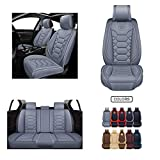Leather Car Seat Covers, Faux Leatherette Automotive Vehicle Cushion Cover for Cars SUV Pick-up Truck Universal Fit Set for Auto Interior Accessories (OS-004 Full Set, Grey) -  Oasis Auto