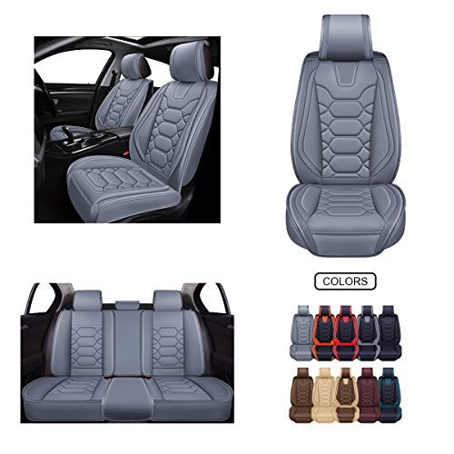 Leather Car Seat Covers, Faux Leatherette Automotive Vehicle Cushion Cover for Cars SUV Pick-up Truck Universal Fit Set for Auto Interior Accessories (OS-004 Full Set, Grey)
