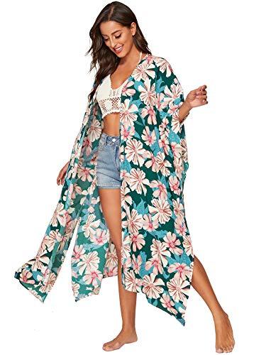 SweatyRocks Women's Flowy Kimono Cardigan Open Front Maxi Dress Army Green Medium