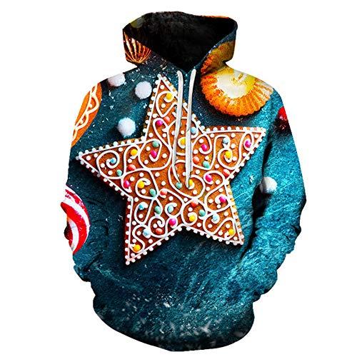 Mr.1991INC&Miss.GO Christmas Casual Loose 3D Printing Hoodie Sweatshirt 20 Code Dark Green