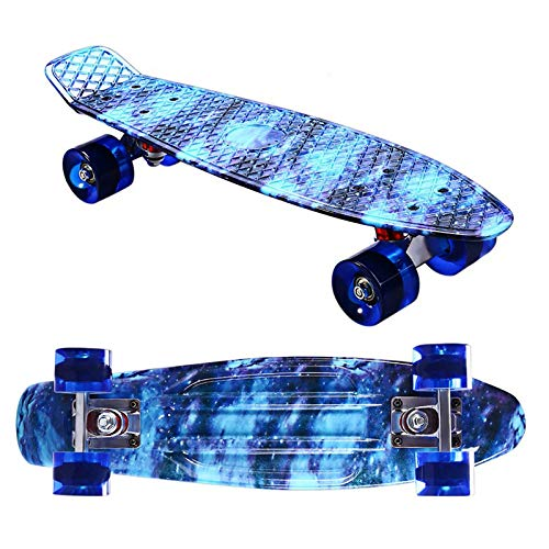 Xxlcznb Skateboard Complete Mini Cruiser Retro Skateboard, Suitable For Teenagers And Children, PU Wear-resistant Luminous Wheels And Beautiful And Fashionable Appearance (Color : Blue camouflage)